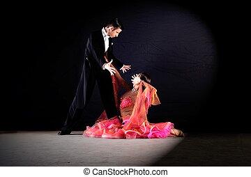 fond, danseurs, noir, isolé, salle bal