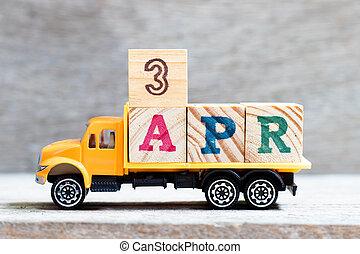 fond, date, prise, camion, bloc, mois, (concept, 3, bois, lettre, april), mot, 3apr