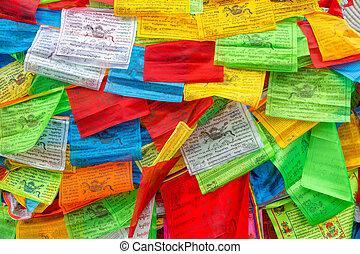 fond, de, bouddhiste, tibétain, prière, drapeaux