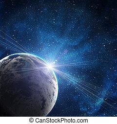 fond, de, espace, à, étoiles