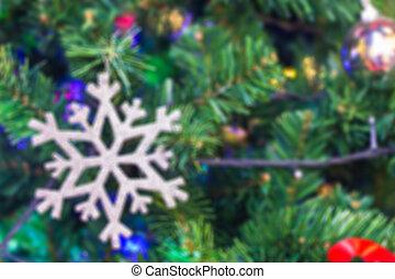 fond, de, flocon de neige, sur, arbre noël