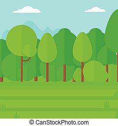 fond, de, pelouse verte, à, arbres.