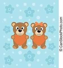fond, dessin animé, ours