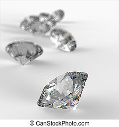 fond, diamants, 3d, composition, blanc