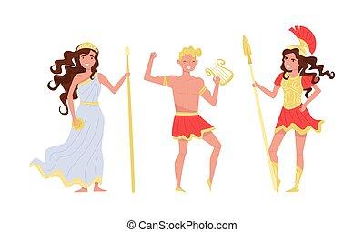 fond, dieux, blanc, ensemble, vecteur, isolé, grec