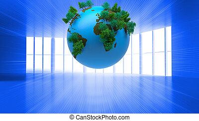 fond, digitalement, globe, engendré, bleu