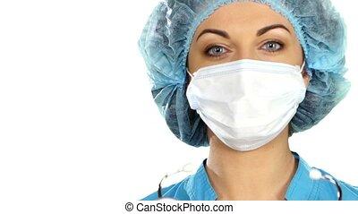 fond, docteur, isolé, stéthoscope, femme, blanc, écoute