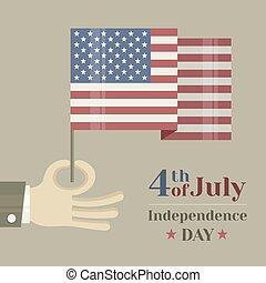 fond, drapeau national, main, américain, tenue