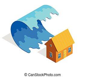 fond, eau, isométrique, isolé, désastre, assurance, propriété, tsunami, maison, protection., illustration, vrai, vecteur, vague, naturel, géant, concept, blanc