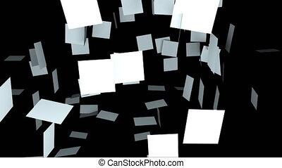 fond, engendré, rendre, composition, beaucoup, noir, informatique, 3d, plaques, randomly, pendre, carrée