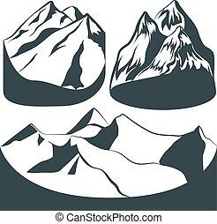 fond, ensemble, rochers, montagnes, paysage