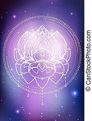 fond, espace, lotus, néon, nebula., boho, vecteur, illustration, étoiles, modèle