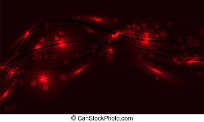 fond, espace, lumière, résumé, lignes, raies, éclats (flares), ondulé, étoiles, asterisks., rouges