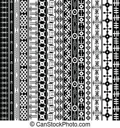 fond, ethnique, texture, géométrique, noir, motifs, africaine, blanc, ornements