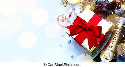 fond, fête, year;, 2018;, joyeux, nouveau, fête, noël, heureux