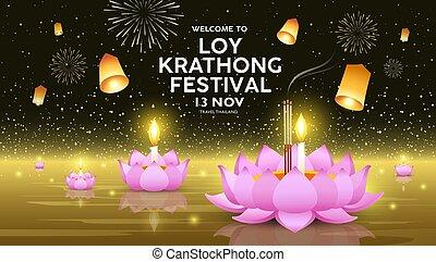 fond, festival, doré, bannières, loy, thaïlande, krathong