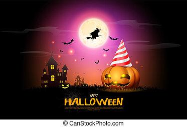 fond, festival, horreur, halloween, illustration, fullmoon, vecteur, potirons, nuit, fête, célébration, heureux