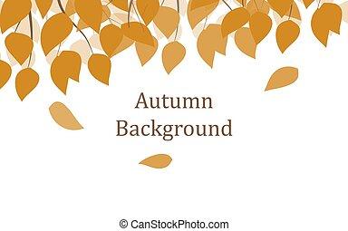 fond, feuilles automne, tomber, jaune
