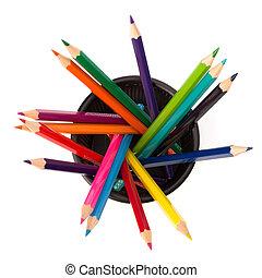 fond, fin, isolé, blanc, crayons, couleur, haut