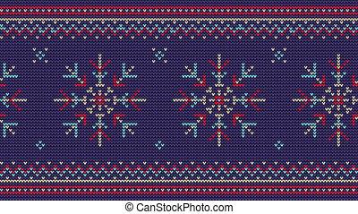 fond, flocons neige, ornement, tricoté