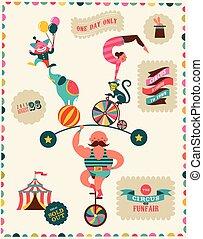fond, foire, amusement, cirque, vecteur, vendange, affiche, carnaval