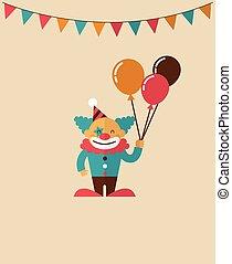fond, foire, amusement, clown, cirque, vecteur, vendange, affiche, carnaval