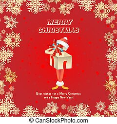 fond, formulaire, fête, claus, caractère, cadeau, dessin animé, year., carte, santa, nouveau, noël, rouges, flocons neige
