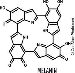 fond, formule, chimique, blanc, melanin, structural