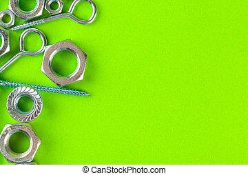 fond, fou, vert, tools., boulons, ingénierie