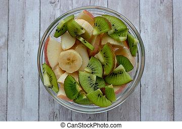 fond, frais, bol, fruit, sain, blanc, salade, bois