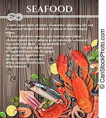 fond, fruits mer, bois