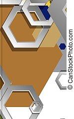 fond, géométrique, âges, illustration, résumé, composition., hexagone, couleur, milieu, vecteur