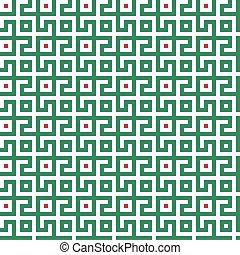 fond, géométrique, rouges, conception, blanc, pattern., seamless, labyrinthe, vert, résumé