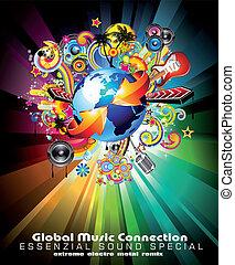 fond, global, aviateur, international, musique, événement