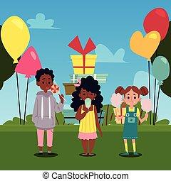fond, gosses, bonbons, ballons, manger, illustration., plat, parc, vecteur