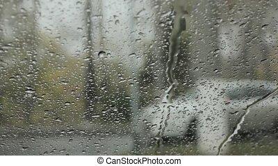 fond, gouttelettes, neige, rain., blured, pare-brise, jour