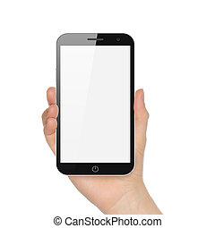 fond, grande main, téléphone, tenue, blanc, intelligent