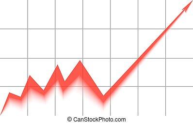 fond, graphique, haut, grille, flèche, blanc rouge, va
