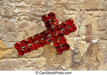 fond,  grunge, croix, rouges