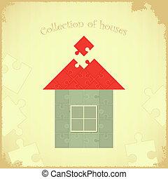 fond, grunge, puzzle, maison