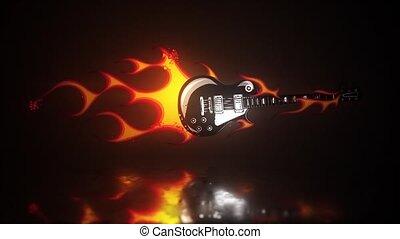 fond, guitare, noir, musique instrument, eletric