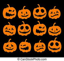 fond, halloween, potirons, nuit