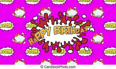 fond, heureux, rose, texte, contre, bulle, parole, boom, anniversaire