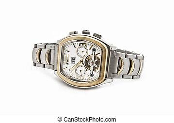 fond, hommes, solide, montre, suisse, blanc