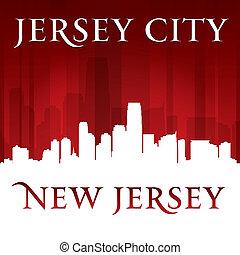 fond, horizon, rouges, ville, jersey, nouveau, silhouette