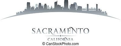fond, horizon, ville, sacramento, californie, silhouette, blanc