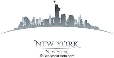 fond, horizon, ville, york, nouveau, silhouette, blanc
