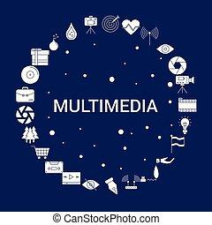 fond, icône, multimédia, créatif