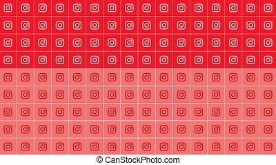 fond, icônes simples, instagram, réseau, social, mouvement
