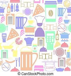 fond, icon., restaurant, modèle, seamless